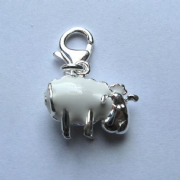 Sterling Silver Clip-on Enamelled Sheep Charm